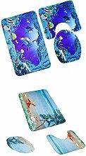 MagiDeal 2Sets x 3pcs Badematten Set Badezimmer