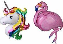 MagiDeal 2x Helium Folie Ballon Einhorn Flamingo