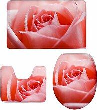 MagiDeal 3 stück Badvorleger Flanell Badematte Badteppich Duschvorlage,Blume Form - 2