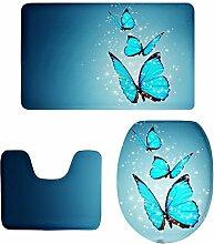 MagiDeal 3 stück Badvorleger Flanell Badematte Badteppich Duschvorlage,Schmetterling Form - 15