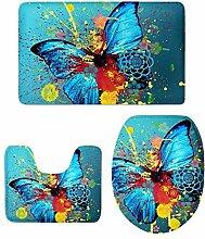MagiDeal 3 stück Badvorleger Flanell Badematte Badteppich Duschvorlage,Schmetterling Form - 10