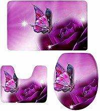MagiDeal 3 stück Badvorleger Flanell Badematte Badteppich Duschvorlage,Schmetterling Form - 9