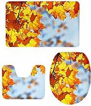 MagiDeal 3 stück Badvorleger Flanell Badematte Badteppich Duschvorlage,Baum Stil - Ahornblätter