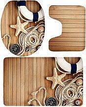 MagiDeal 3 Stück Landschaft Form Badematte rutschfester Badeteppiche Lokus Matte Set weich Matte aus Flanell auch für Schlafzimmer, Küche, Bett, Sofakissen - Seestern # 5