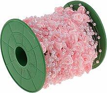 MagiDeal 30 Meter Satin Blume Perlengirlande