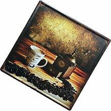 MagiDeal 30cmx30cm Vintage Metall Blechschilder Wandkunst Plakat Café-Bar Pub , Kaffee und Kaffeebohnen Muster
