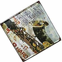 MagiDeal 30cmx30cm Wasserdicht Modern Blechschilder Türschilder Café Bar Pub Wand Dekor - Saxophon