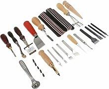 MagiDeal 39 Stück / Set Fertigkeit DIY handgemachte Werkzeuge Schlags-Edger Trench Geräte Gürtel Schlags Set Lederhandwerkzeuge
