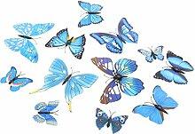 MagiDeal 3d Schmetterling Wandaufkleber Wandsticke Wandtatoo Spiegel Aufkleber Haus Wand Dekoration - Hellblau
