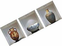 MagiDeal 3D Vintage Vase Blumen Wandaufkleber