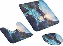 MagiDeal 3pcs Badematten Set Badezimmer Non-Slip Sockel Teppich + Deckel WC-Abdeckung + Badematte - Sonnenuntergang, One Size