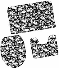 MagiDeal 3pcs Badematten Set Badezimmer Non-Slip Sockel Teppich + Deckel WC-Abdeckung + Badematte, Bunte Schädel Muster - Schädel #5, 79x 49cm
