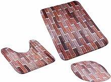 MagiDeal 3pcs Badematten Set Badezimmer Non-Slip Sockel Teppich + Deckel WC-Abdeckung + Badematte - Wunschliste, One Size