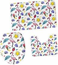 MagiDeal 3pcs Flamingo Muster Badematten Set