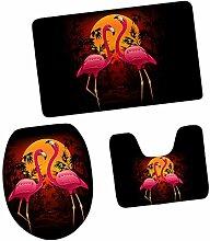 MagiDeal 3pcs Flamingo Muster Badematten Set Badezimmer Anti-Rutsch Sockel Teppich + Deckel WC-Abdeckung + Badematte - #2, 3Stück/Se