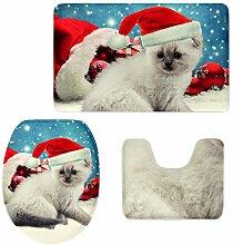 MagiDeal 3pcs Weihnachten Badematten Set Badezimmer Anti-Rutsch Sockel Teppich + Deckel WC-Abdeckung + Badematte Set - Weihnachtshut 2, 3pcs/se