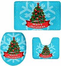 MagiDeal 3pcs Weihnachten Badematten Set Badezimmer Anti-Rutsch Sockel Teppich + Deckel WC-Abdeckung + Badematte Set - Frohe Weihnachten 10, 3pcs/se