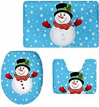 MagiDeal 3pcs Weihnachten Badematten Set Badezimmer Anti-Rutsch Sockel Teppich + Deckel WC-Abdeckung + Badematte Set - Schneemann 1, 3pcs/se