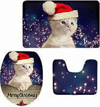 MagiDeal 3pcs Weihnachten Badematten Set Badezimmer Anti-Rutsch Sockel Teppich + Deckel WC-Abdeckung + Badematte Set - Weihnachtshut 1, 3pcs/se