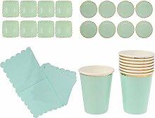 MagiDeal 44pcs / Set Einwegbecher Papierservietten Pappteller 23 cm und 18 cm Tafelgeschirr Sets Grün