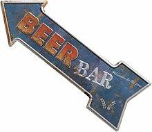 MagiDeal 45x16cm Vintage-Stil Pfeil-Form Blechschilder Schild Türschilder Bar Dekor , Kaffee Bier Auswählbar - Beer Bar , 450 * 160mm