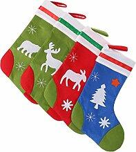 MagiDeal 4pcs / Set Tier Form Nikolausstrumpf / Weihnachtsstrumpf / Nikolausstiefel / Nikolaussocke / Weihnachtssocke aus Stoff / Geschenke