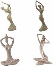 MagiDeal 4pcsSandstein Figur Skulpture Statue Tanz Yoga Tänzer Frauenfiguren Haus Dekoration Geschenke