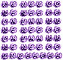 MagiDeal 50er Pack Schaumrosen Schaumköpfe Künstliche Blume Brautstrauß Blumendekoration - lila