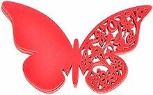 MagiDeal 50pcs Schmetterling Glas Name Platzkarten Namenkarten Perlglanz Hochzeit - Ro