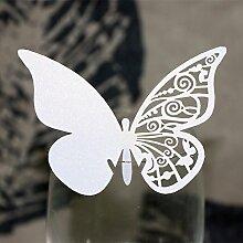 MagiDeal 50x Platzkarte Tischkarte Namenskarten Glasanhänger Weinglas Deko Farbewahl - #8