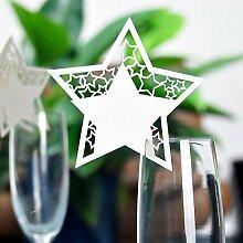 MagiDeal 50x Platzkarte Tischkarte Namenskarten Glasanhänger Weinglas Deko Farbewahl - #2