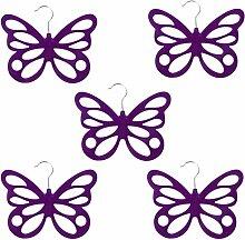MagiDeal 5pcs Schmetterling Design , Beflockung Kleiderbügel Schalaufhänger Schal Tie Tuch Haken Aufhänger Halter - Lila