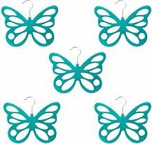 MagiDeal 5pcs Schmetterling Design , Beflockung Kleiderbügel Schalaufhänger Schal Tie Tuch Haken Aufhänger Halter - Blau