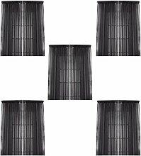 MagiDeal 5pcs Schwarz Blickdicht Vorhang Schiere Voile Fenster Türvorhang Teiler 100x200cm