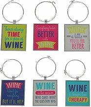 MagiDeal 6pcs Mischte Wein-Glas-Charme-Getränk Marker Ring Tischdekoration Geschenke Weinglas Weinglas Marker Glasmarker Glasmarkierung Glasmarkierer