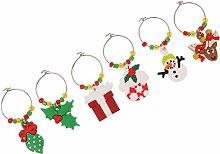 MagiDeal 6pcs Weihnachten Glasmarkierer Weinglas Anhänger Markierer Weinglasanhänger für Weingläser Se