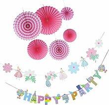 MagiDeal 7pcs Tissue Papier Fan, Papier Pinwheel, Papier Blumen Girlande Banner Bunting, Hochzeit Geburtstag Feier Party Dekoration