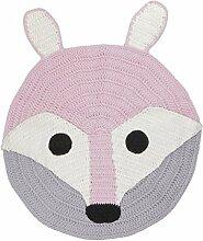 MagiDeal 80cm Handgemachte Häkelteppich Teppiche Hochflor Kinderzimmer Schlafzimmer für Baby Kinder Mädchen Jungen - Fuchs