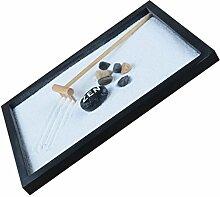 MagiDeal Deko Zen Garten Sand Set , Tablett Stein Kiesel Holz Harke Set , Haus Tisch Dekoration