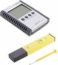 MagiDeal Digital PH Wert Wasser Messgerät Messer Tester Meter Aquarium Pool Prüfer + Temperatur und Luftfeuchtigkeitsmesser