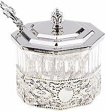 MagiDeal Gewürzdose Zuckerspender mit Löffel im Retro Design, aus Kunststoff, für Haus und Küche - Silberner Octagon, 8.7x5.8cm