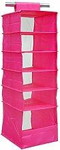 MagiDeal Hängeregal 6 Fächer , Stoffregal Regal Organizer für Schrank Kleiderschrank Wäschesortierer - Rose Rot, 26X31X82cm