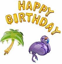 MagiDeal Helium Folie Ballon Flamingo Palme