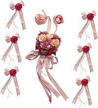 MagiDeal Hochzeit Auto Dekoration Kits 5 Meter Bänder & 6 Große Antennenschleifen - Rosa, 25 cm
