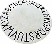 MagiDeal Kinder Spielmatte Rund Kuschelweich Teppich mit Buchstaben Motiv Vorleger Bodennatte krabbelnd Baby Sitzkissen Diameter : 120cm