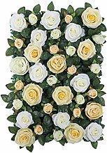 MagiDeal Künstliche Seiden Blume Wand, Diy Hochzeit Hauptstraße Dekoration - Champagner mit Blättern