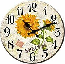 MagiDeal Landhausstil Sonnenblumen Wanduhr Dekouhr für Wohzimmer Schlafzimmer,Ø: 34 cm, aus Holz - #A
