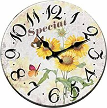 MagiDeal Landhausstil Sonnenblumen Wanduhr Dekouhr