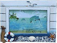 MagiDeal Maritim fotorahmen Bilderhalter Schiff Boot Rettungsring für Wohnzimmer Schlafzimmer Tisch Dekoration , 20x16cm , Holz