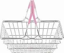 MagiDeal Mini Shopping Korb Spielzeug Kleidung Organizer Eimer Wäsche Schrank Box - Rosa